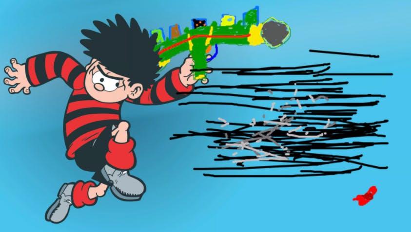 Dennis holding super soaker bazooka