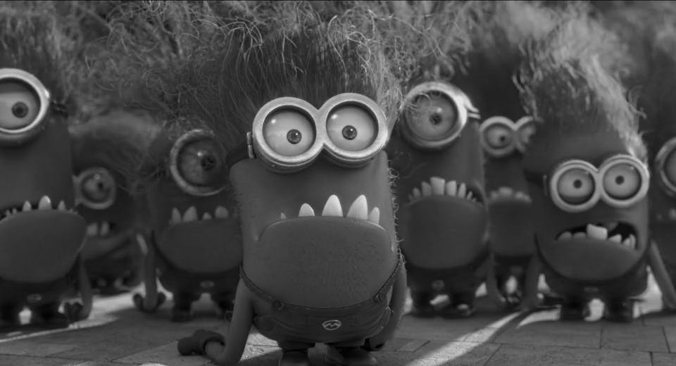 This is a black and white image of the evil Minions
