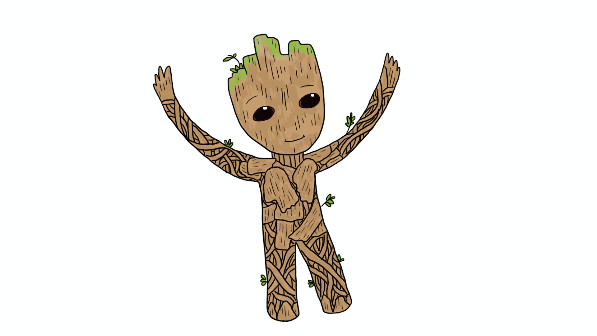 How to Draw Baby Groot from Guardians of the Galaxy