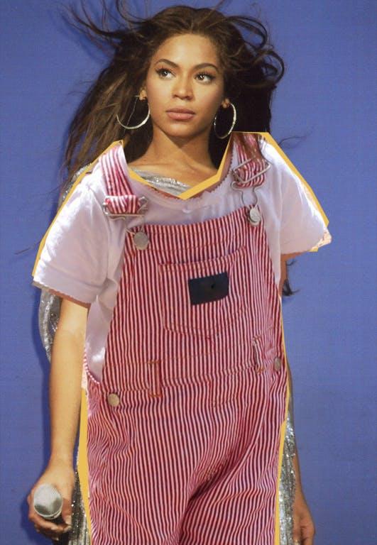 Beyoncé in toddler dungarees