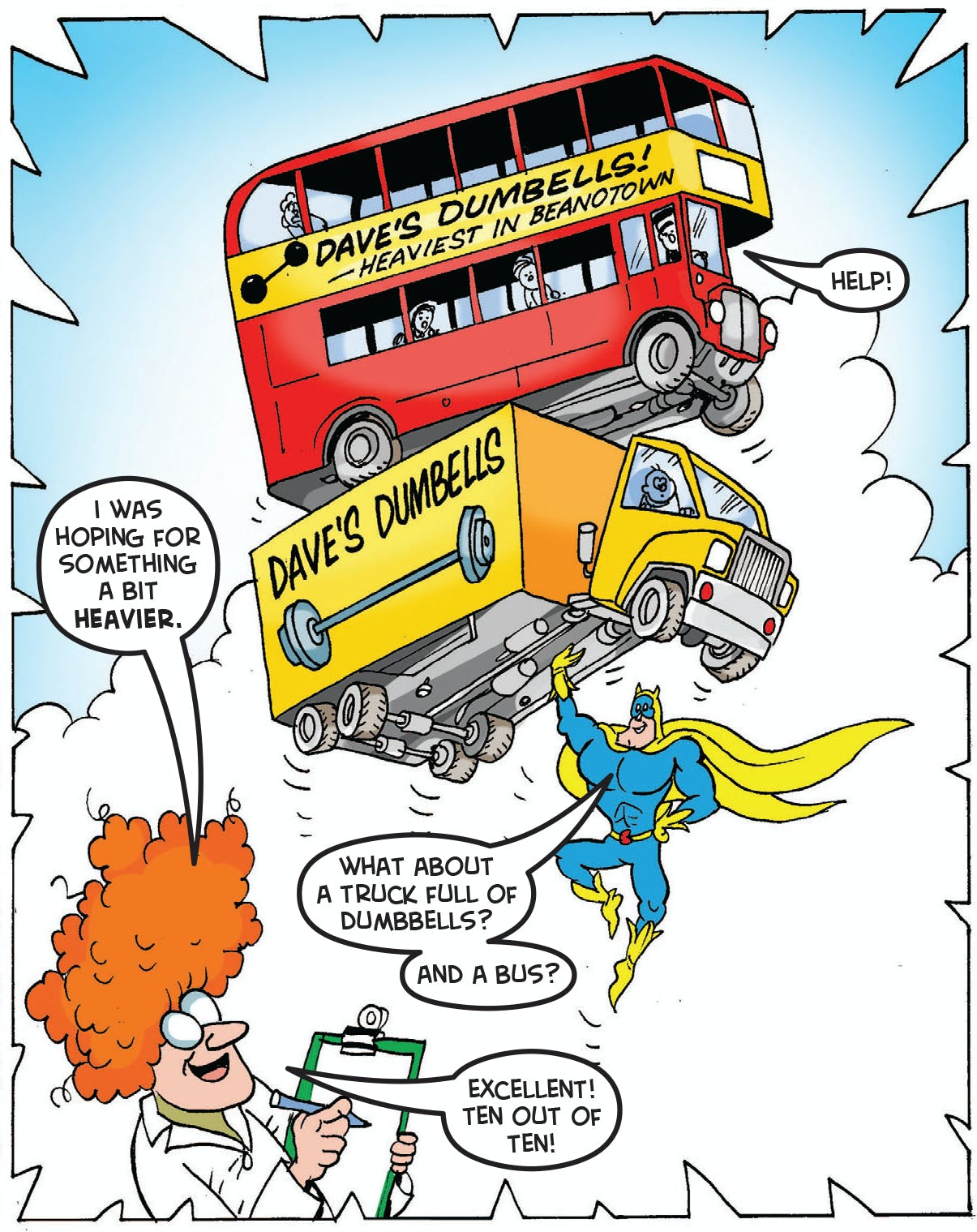 Bananaman lifts a truck and a bus