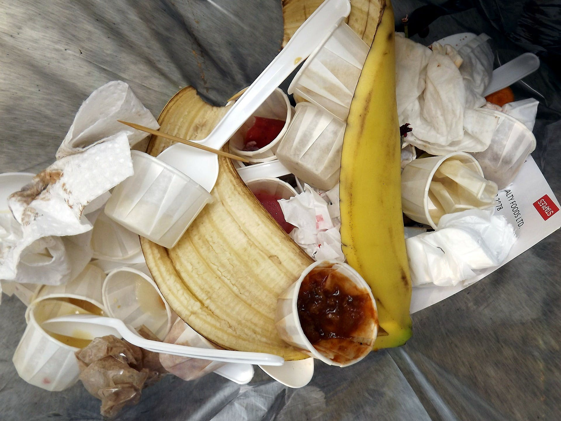 A bin full of rubbish and banana skins