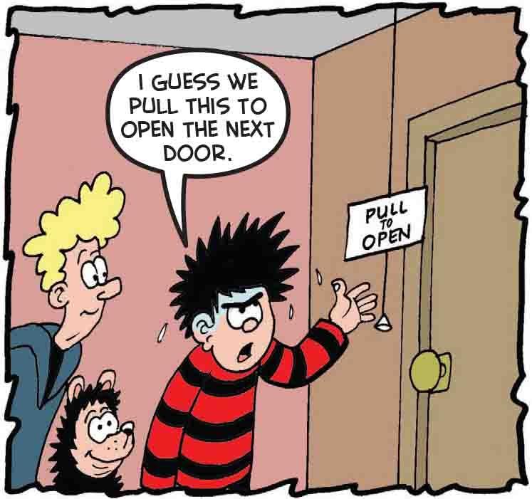 Dennis tries to open a door
