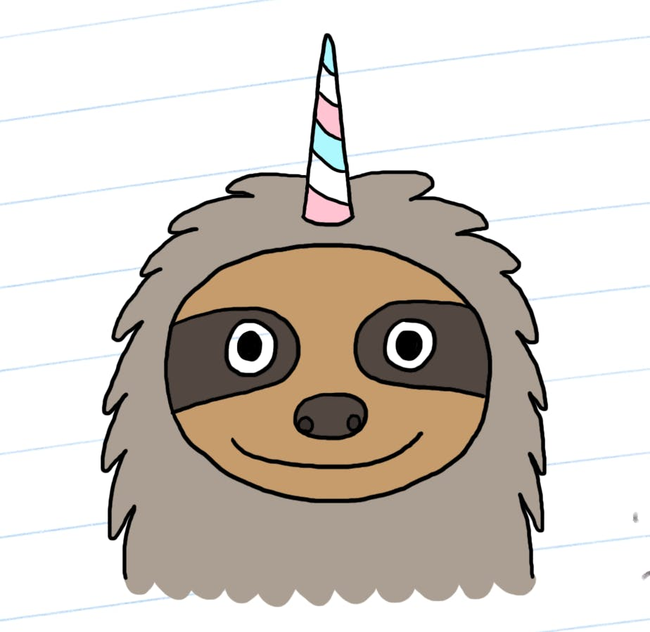 A happy coloured slothicorn
