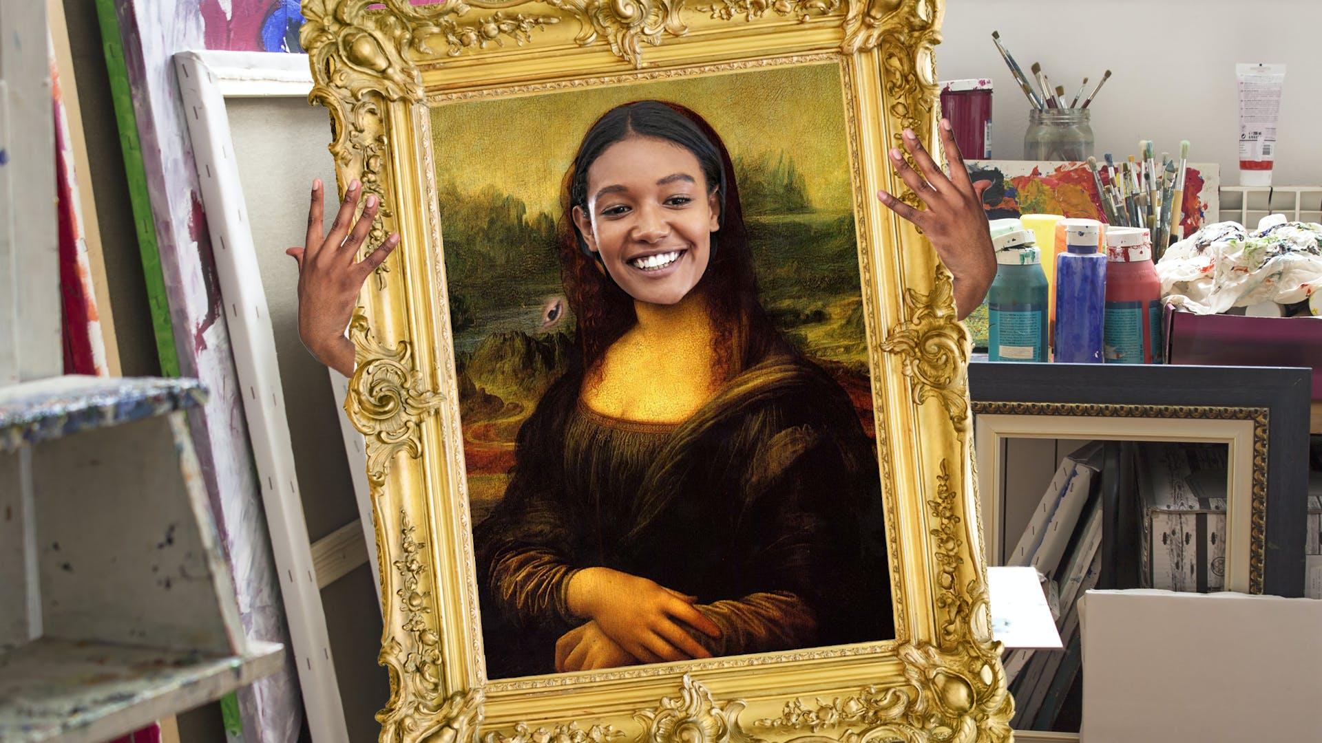 Art teacher dressed as the Mona Lisa