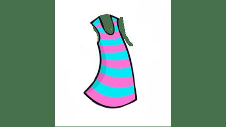 A pink and blue strip dress