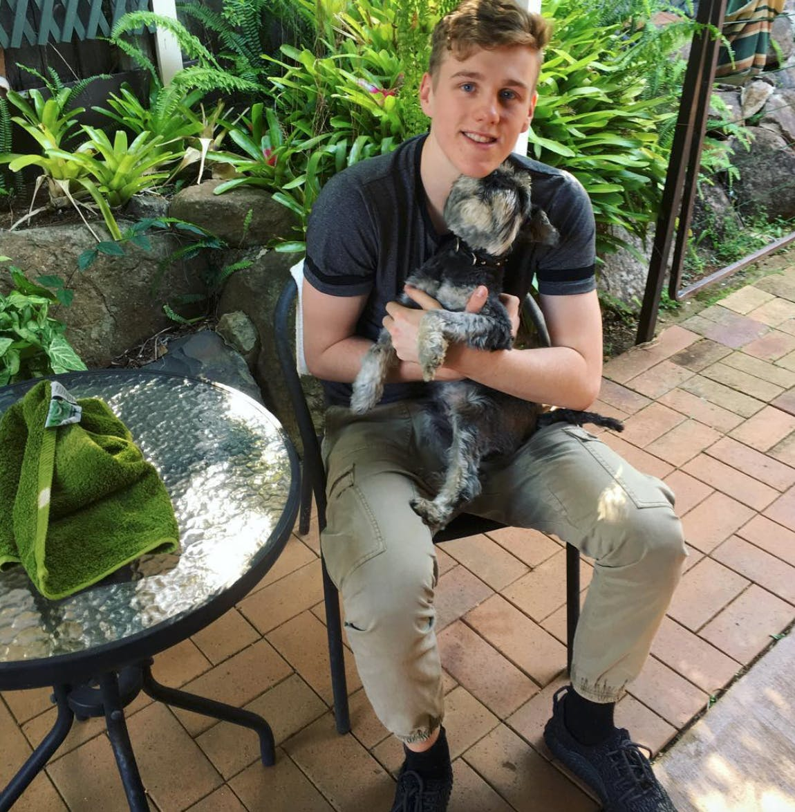 Lachlan Power with his dog Max