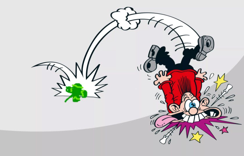 Calamity James tripping over a four-leafed clover