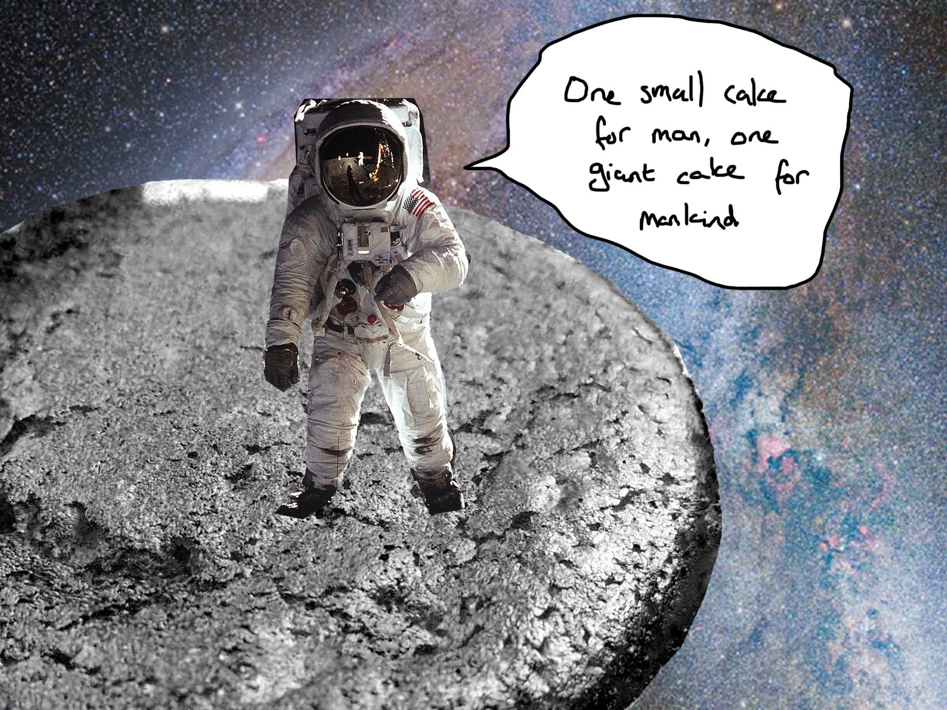 An astronaut walking on the cake
