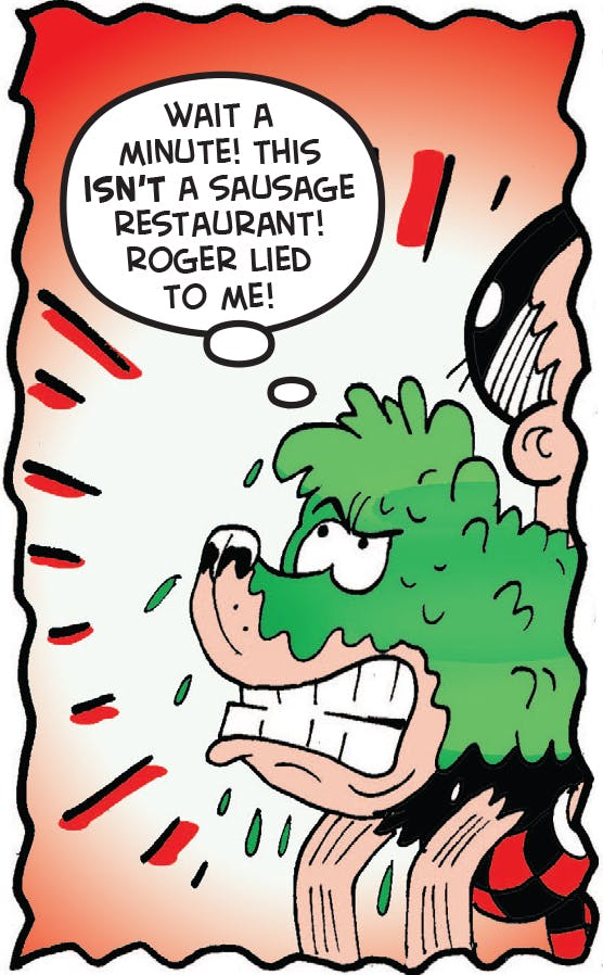 Roger takes Gnasher to the dog salon