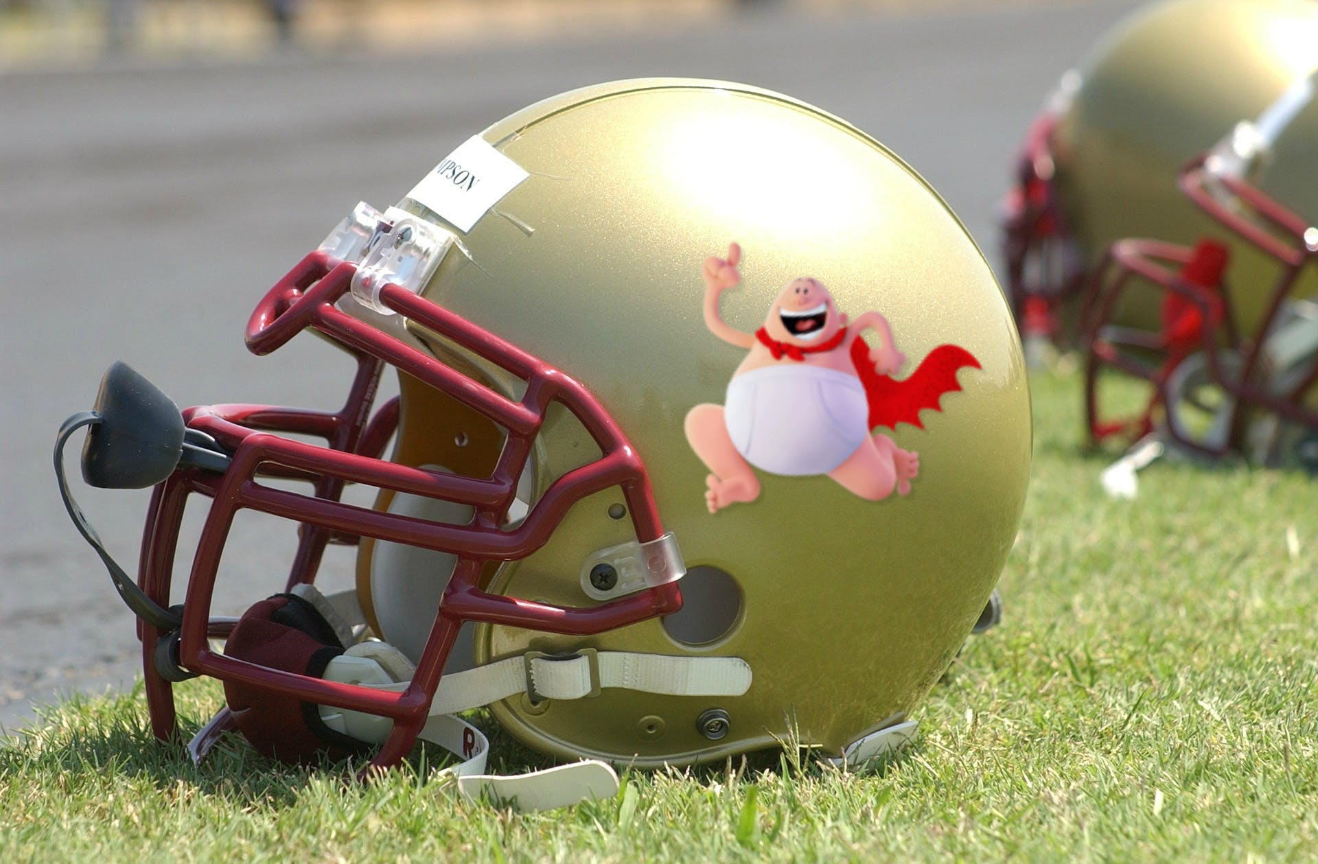An American football helmet