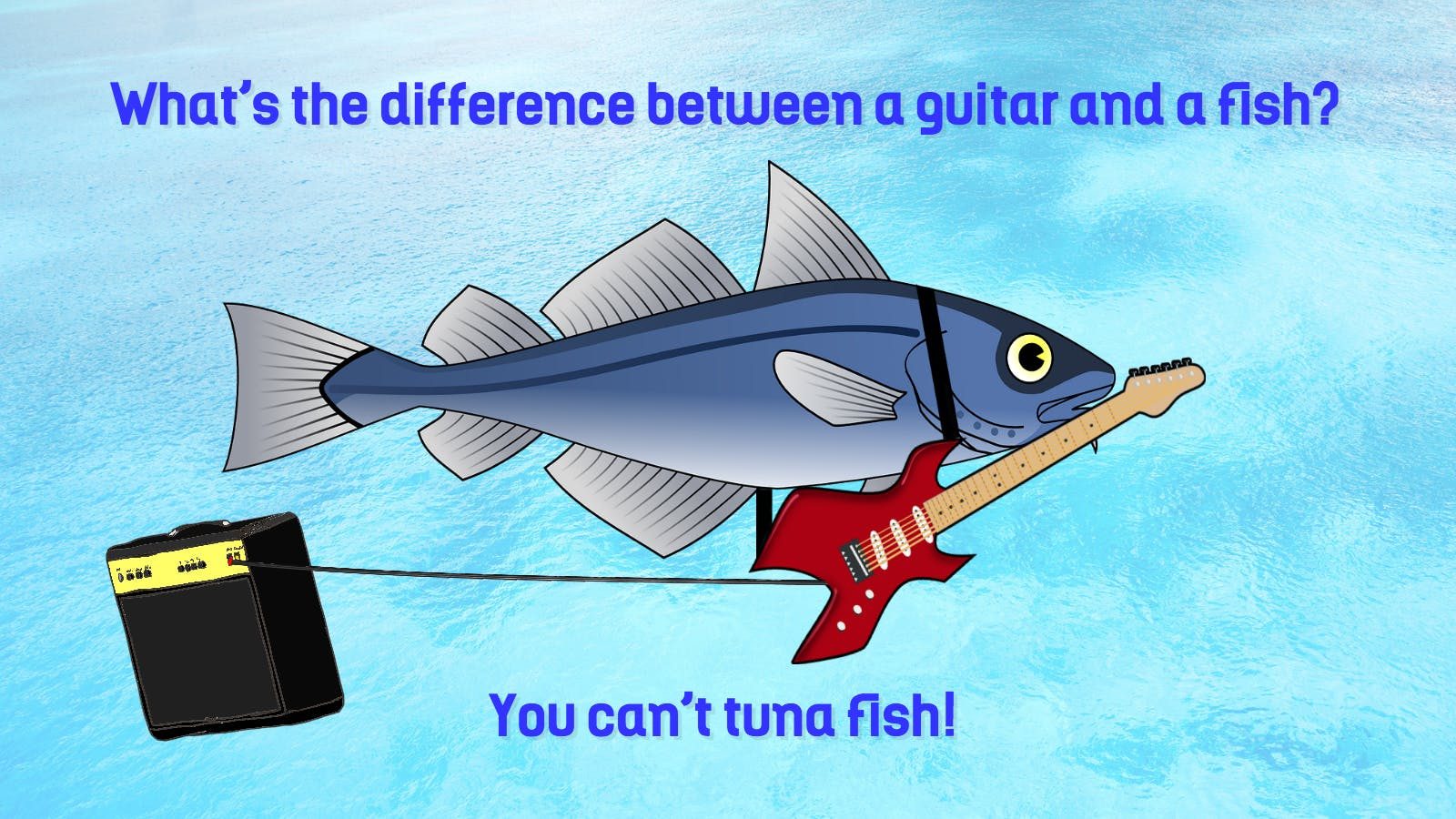 This is a tuna playing guitar