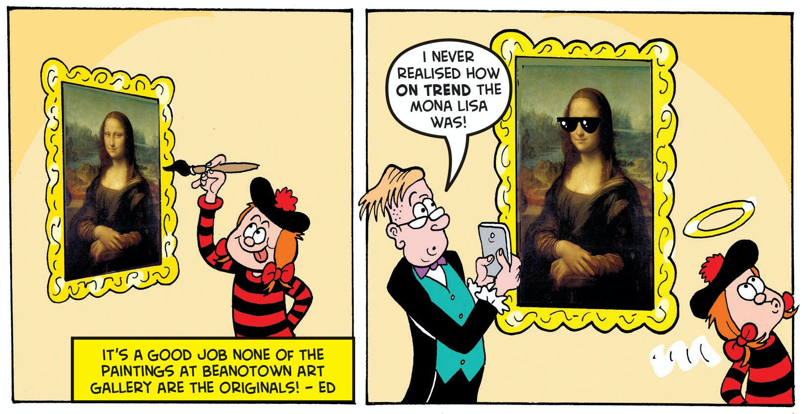 Minnie messes with the art gallery