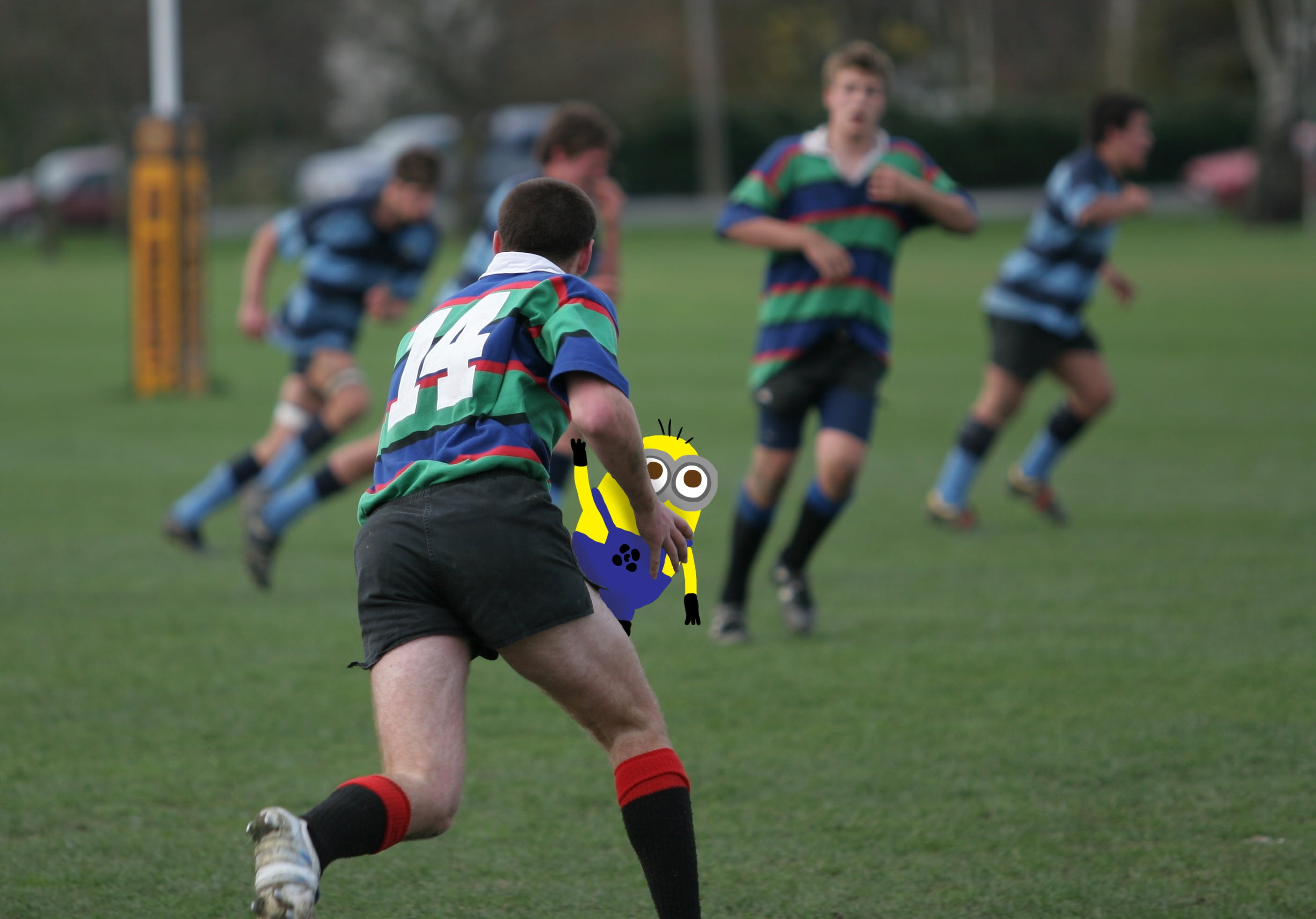 Minion being used as a Rugby Ball