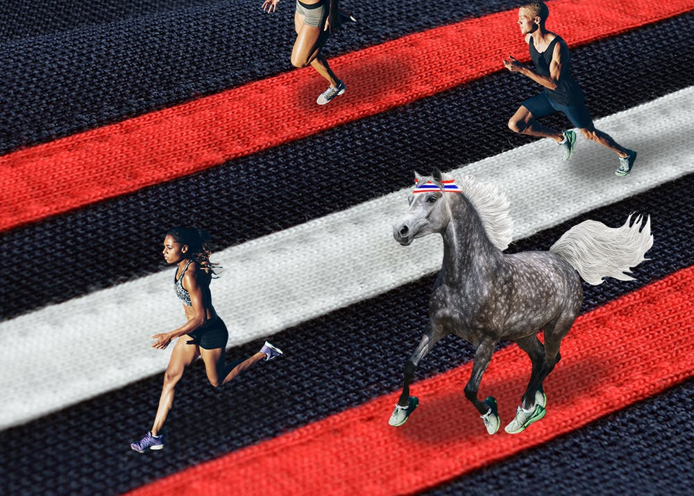 tiny people and tiny horses running on adidas stripes