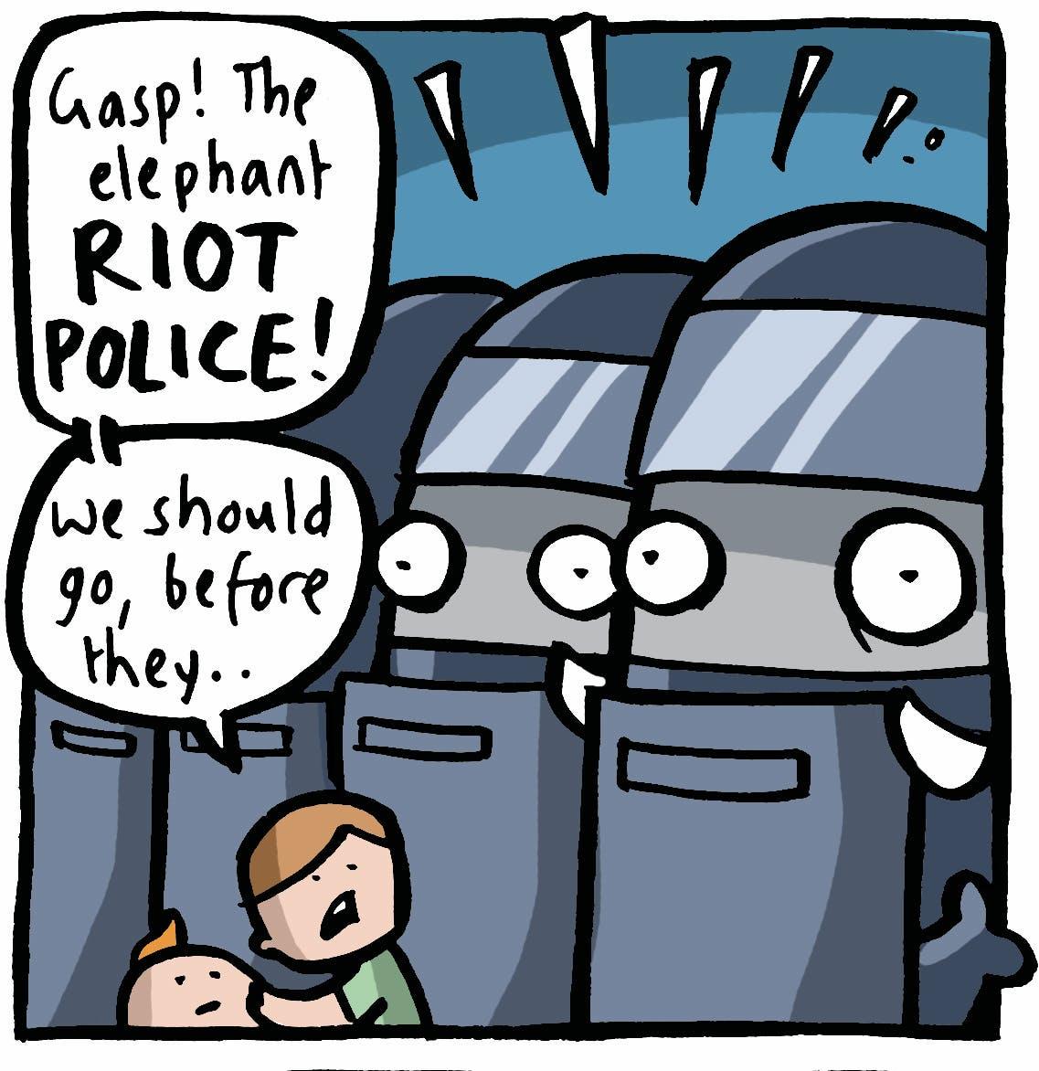 Elephant riot police?