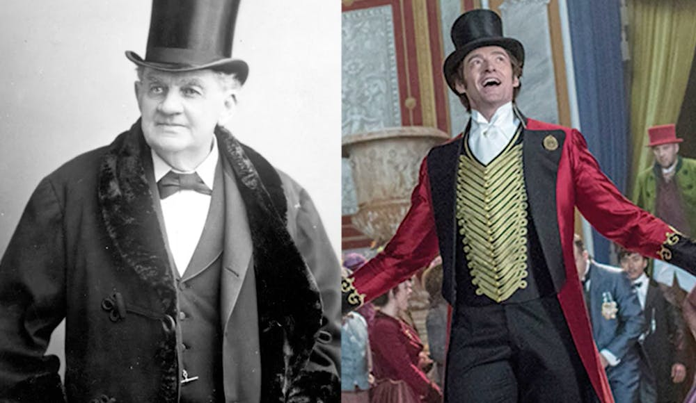 PT Barnum and Hugh Jackman in The Greatest Showman