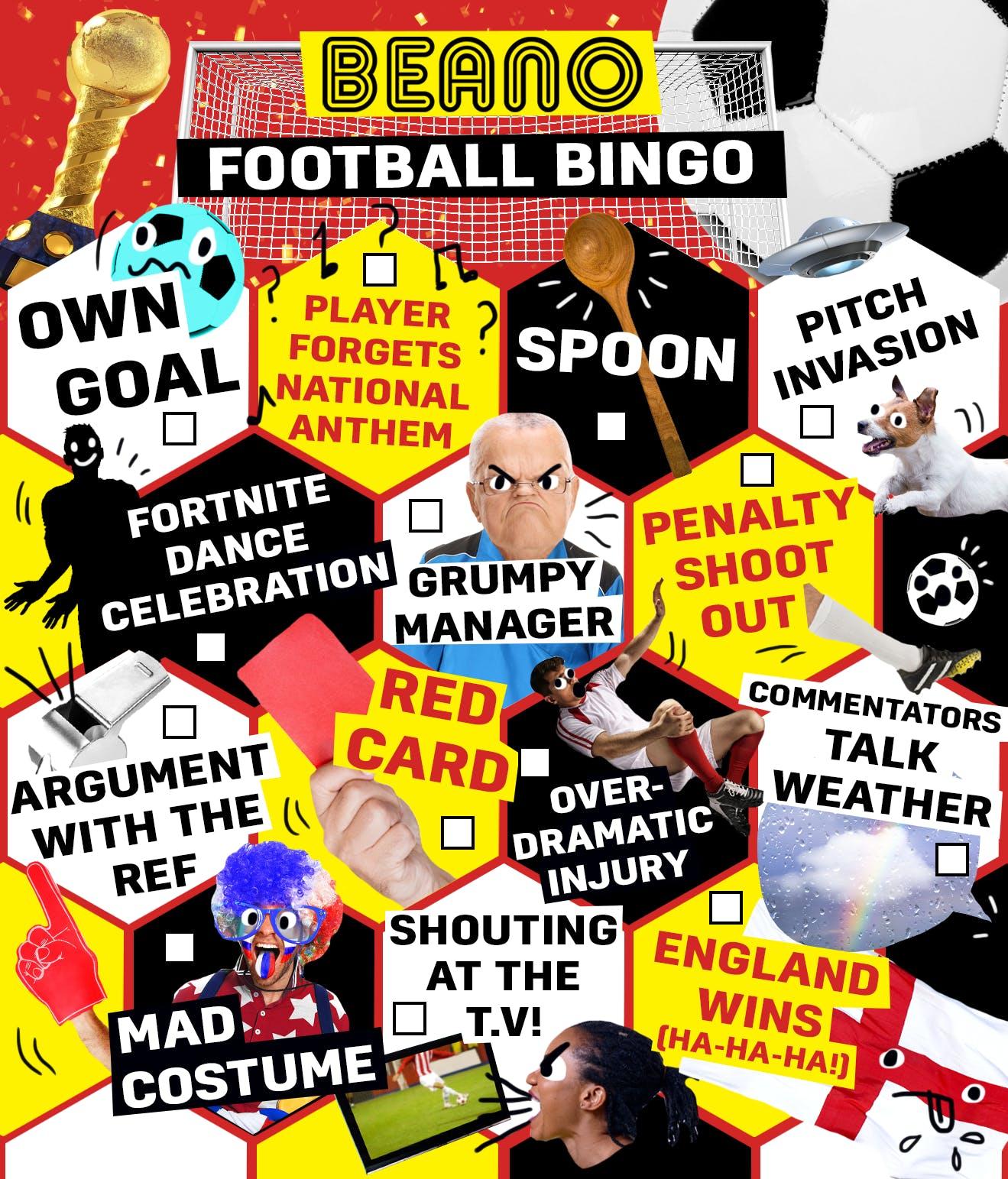 Beano Football Bingo Card