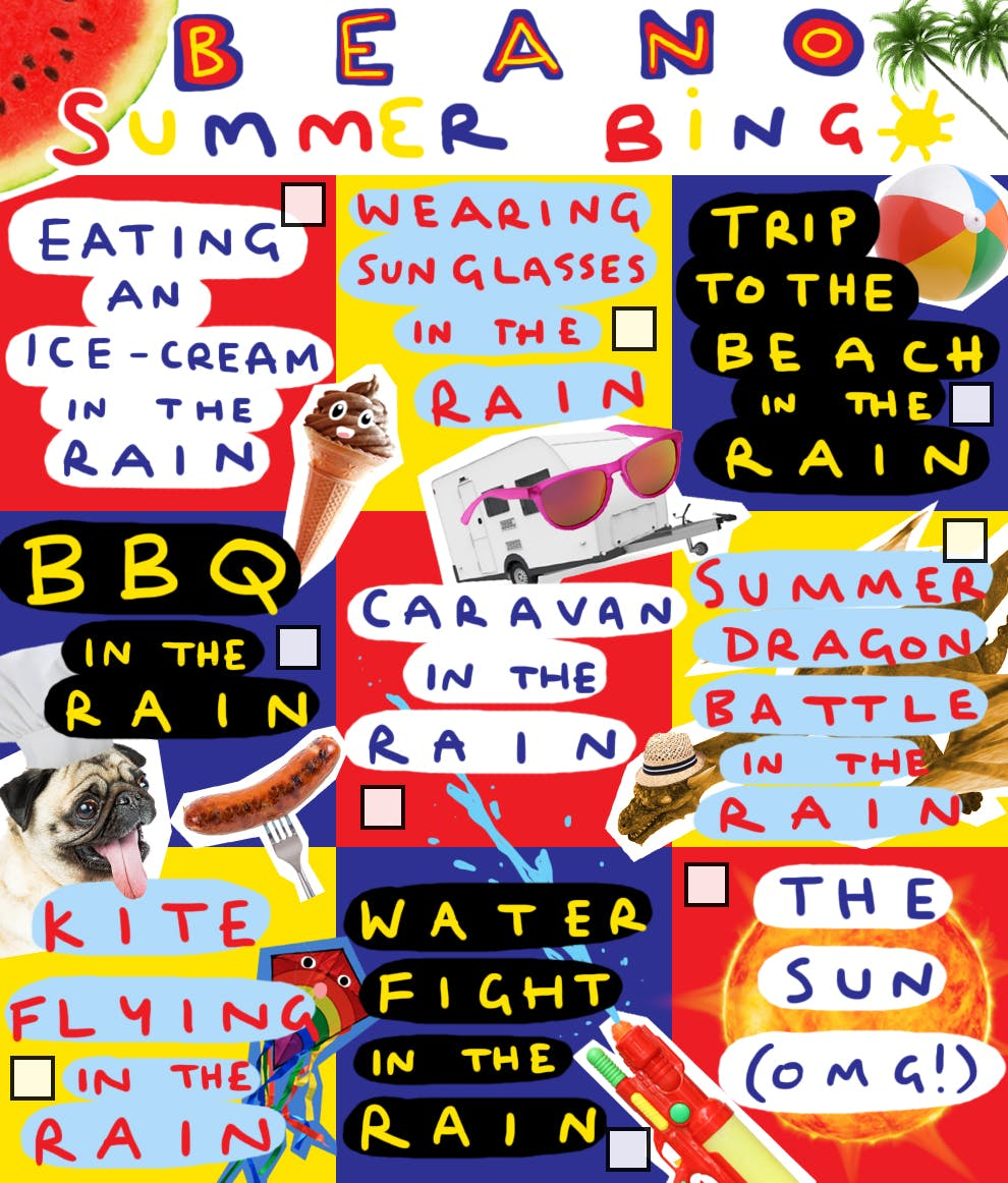 Beano Summer Bingo Card