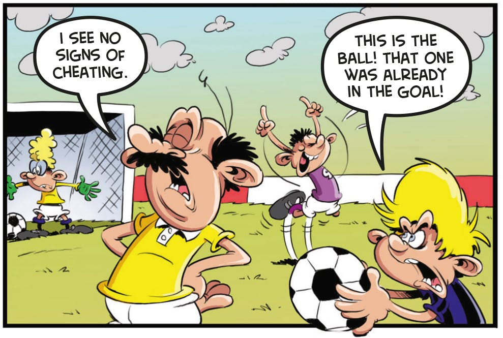 Ball Boy Beano comic football funny cheat
