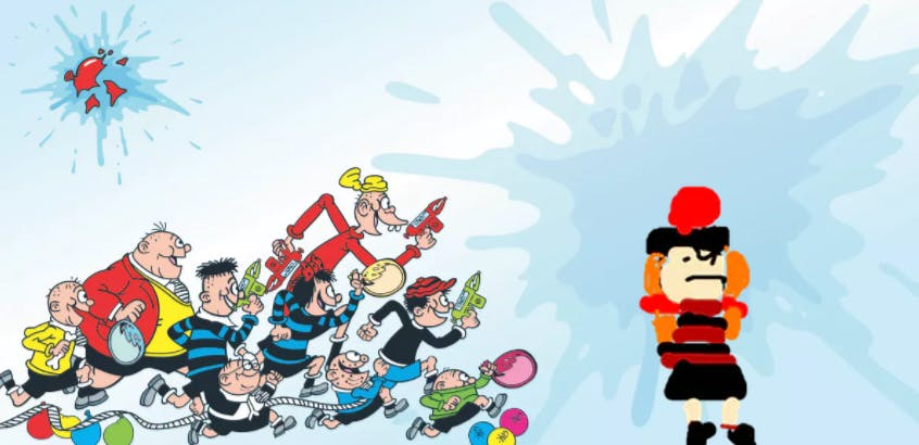 The Bash Street Kids soaking Minnie the Minx with super soakers