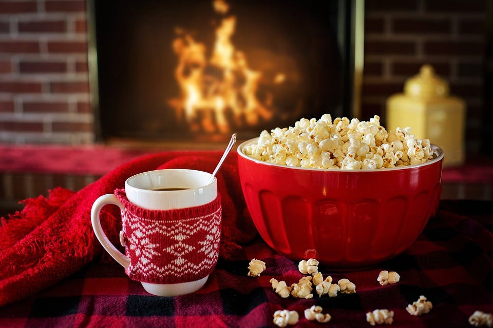 Popcorn and hot chocolate