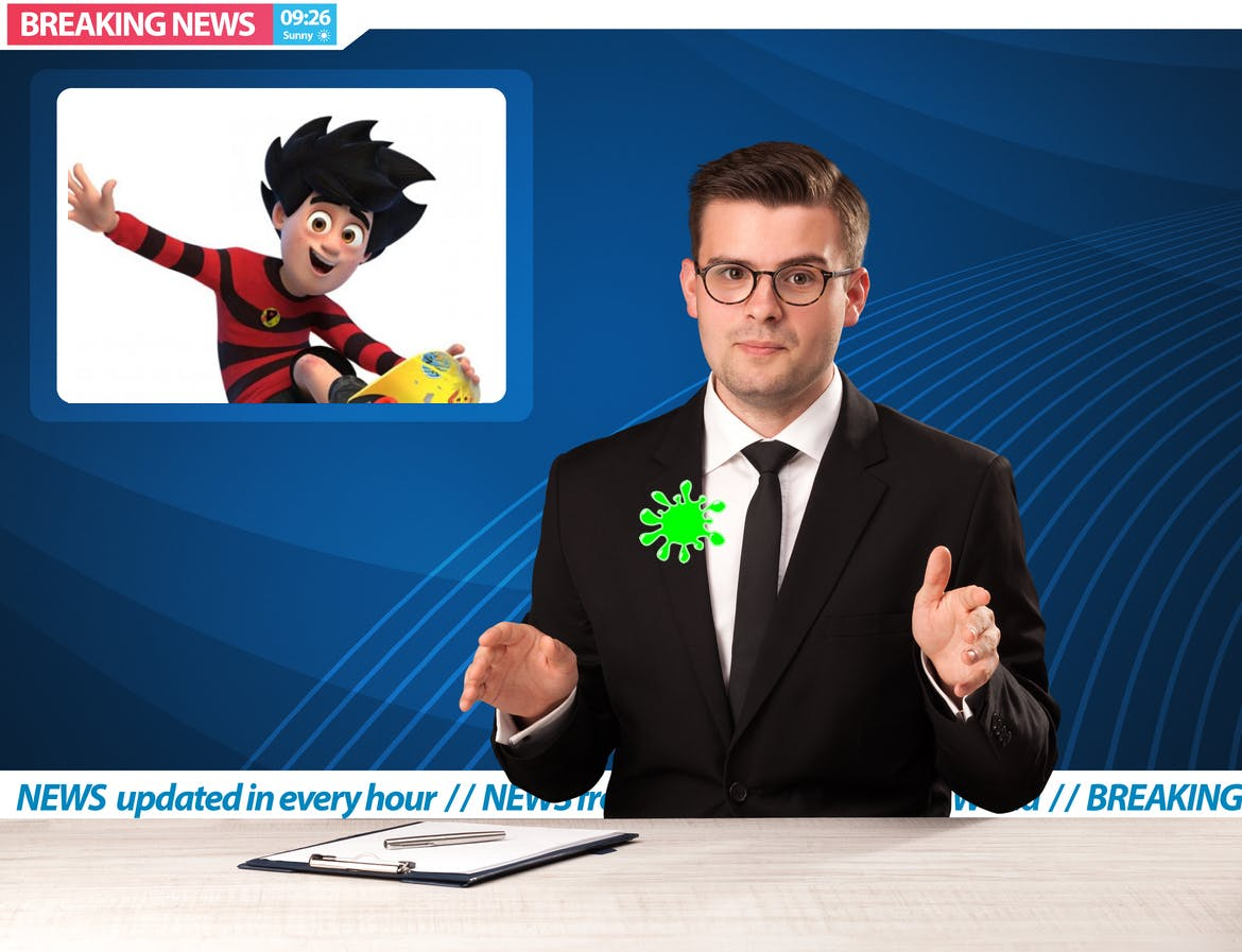 A news reader and Dennis the Menace