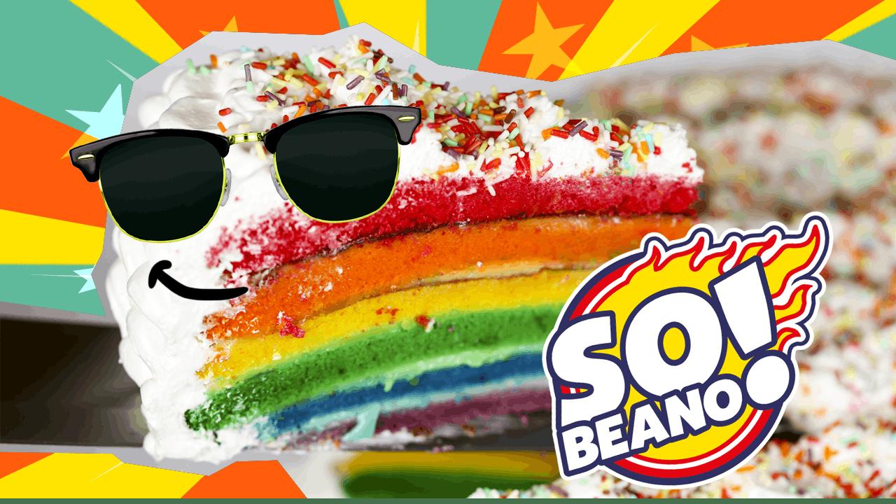 a SO BEANO rainbow cake with sunglasses on