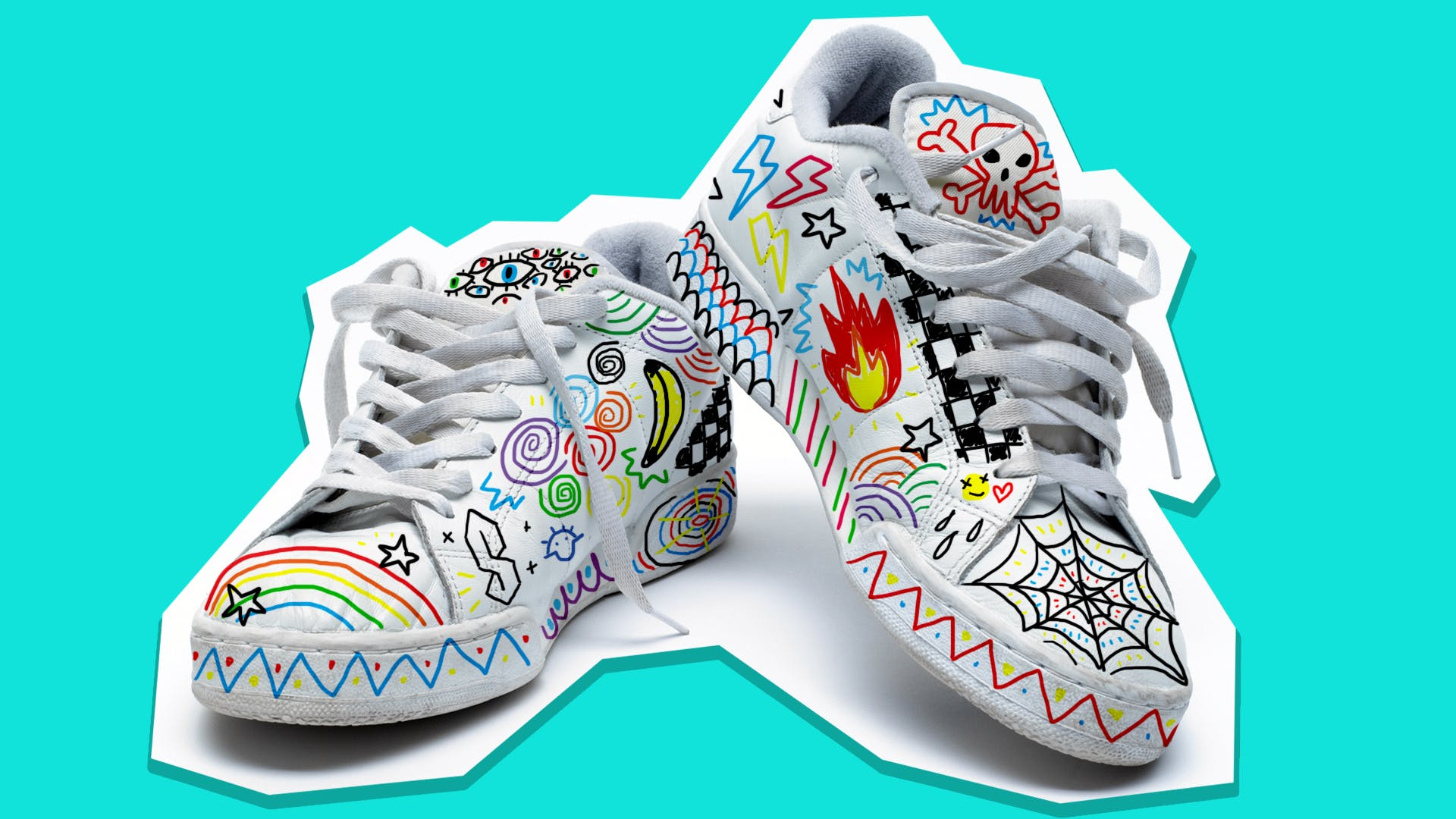 Graffitied trainers