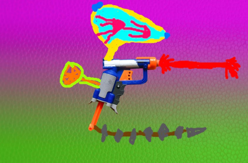 Nerf Gun shooting lasers with a jellyfish launcher on the top and some spikes
