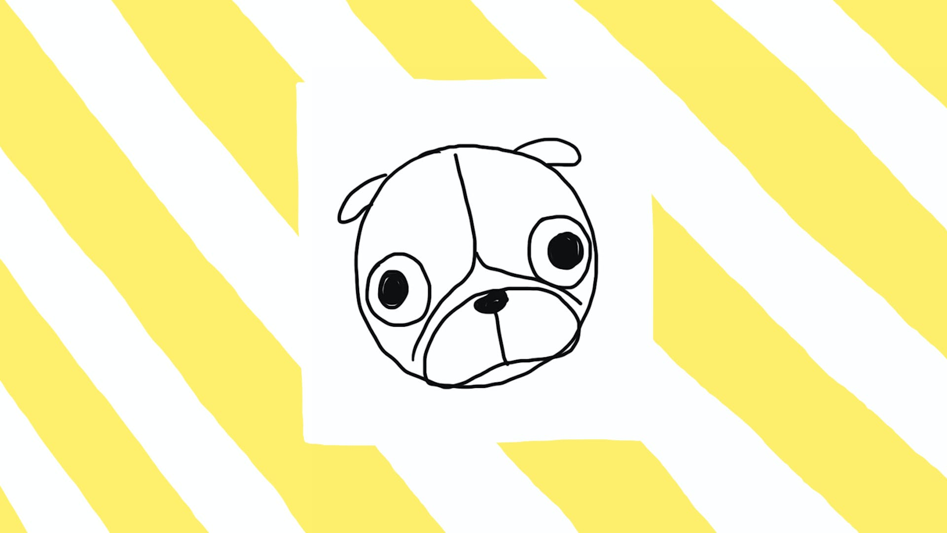 Wrinkle up your pug by putting an upside-down Y in the middle of the head