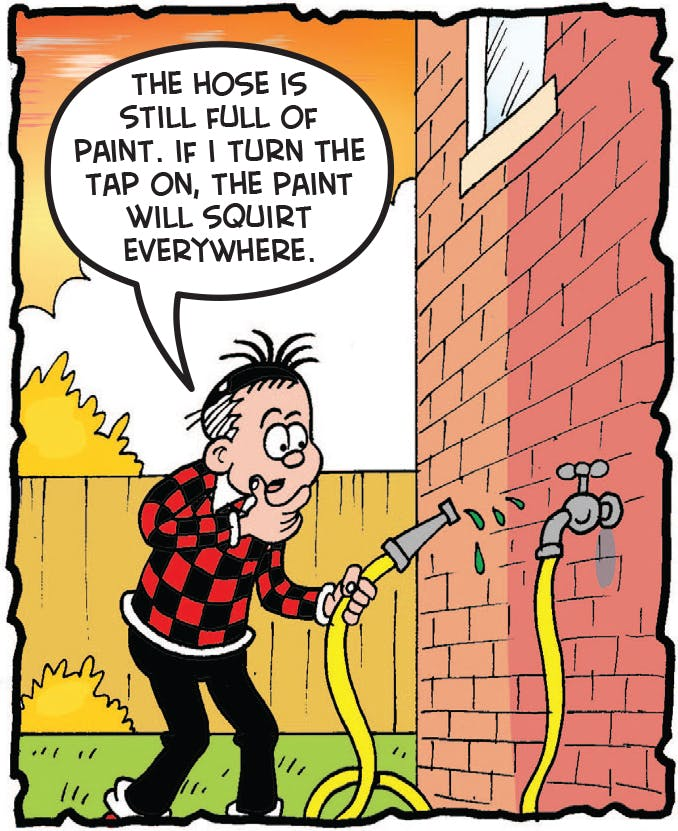 The hose is full of paint