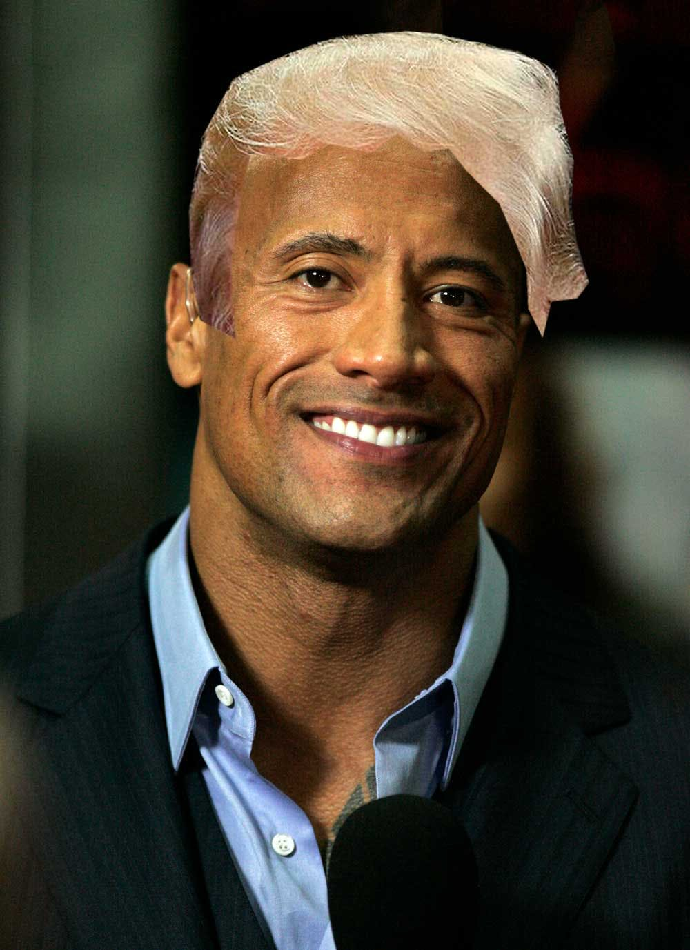 The Rock with DOnald Trump's hair