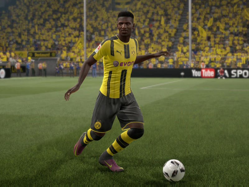 Ousmane Dembélé, as seen in FIFA 17, still at Borussia Dortmund