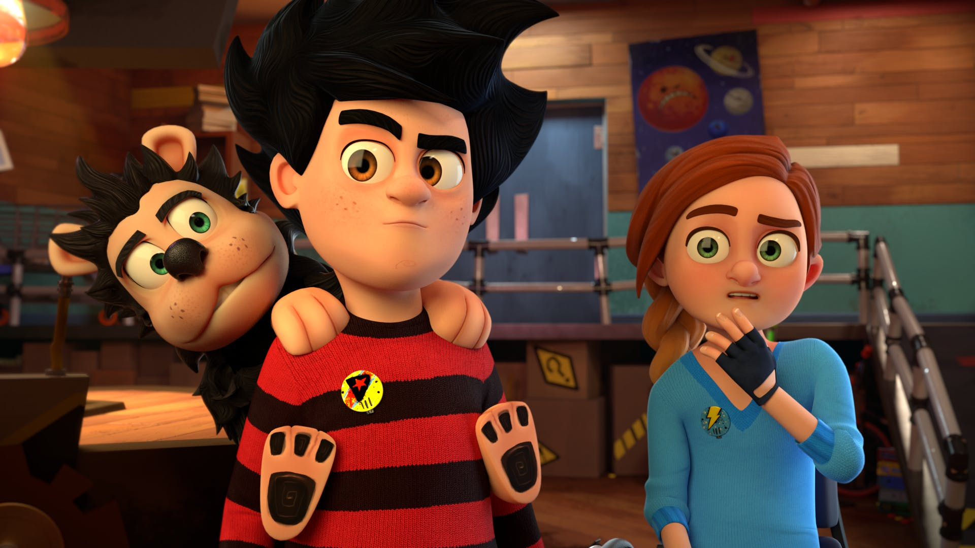 Gnasher sneaks into school with Dennis by pretending to be his backpack! From Dennis and Gnasher: Unleashed!