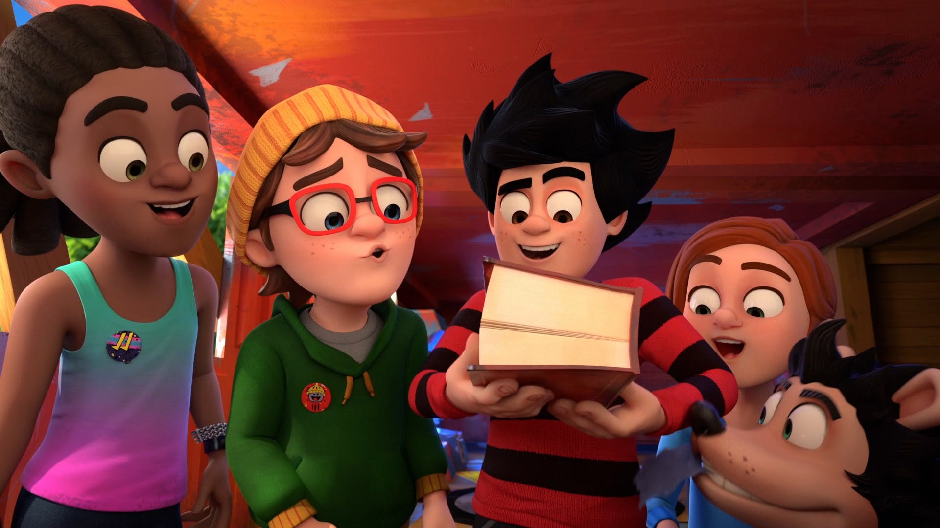 Dennis and Pieface find a book Dennis & Gnasher Unleashed!