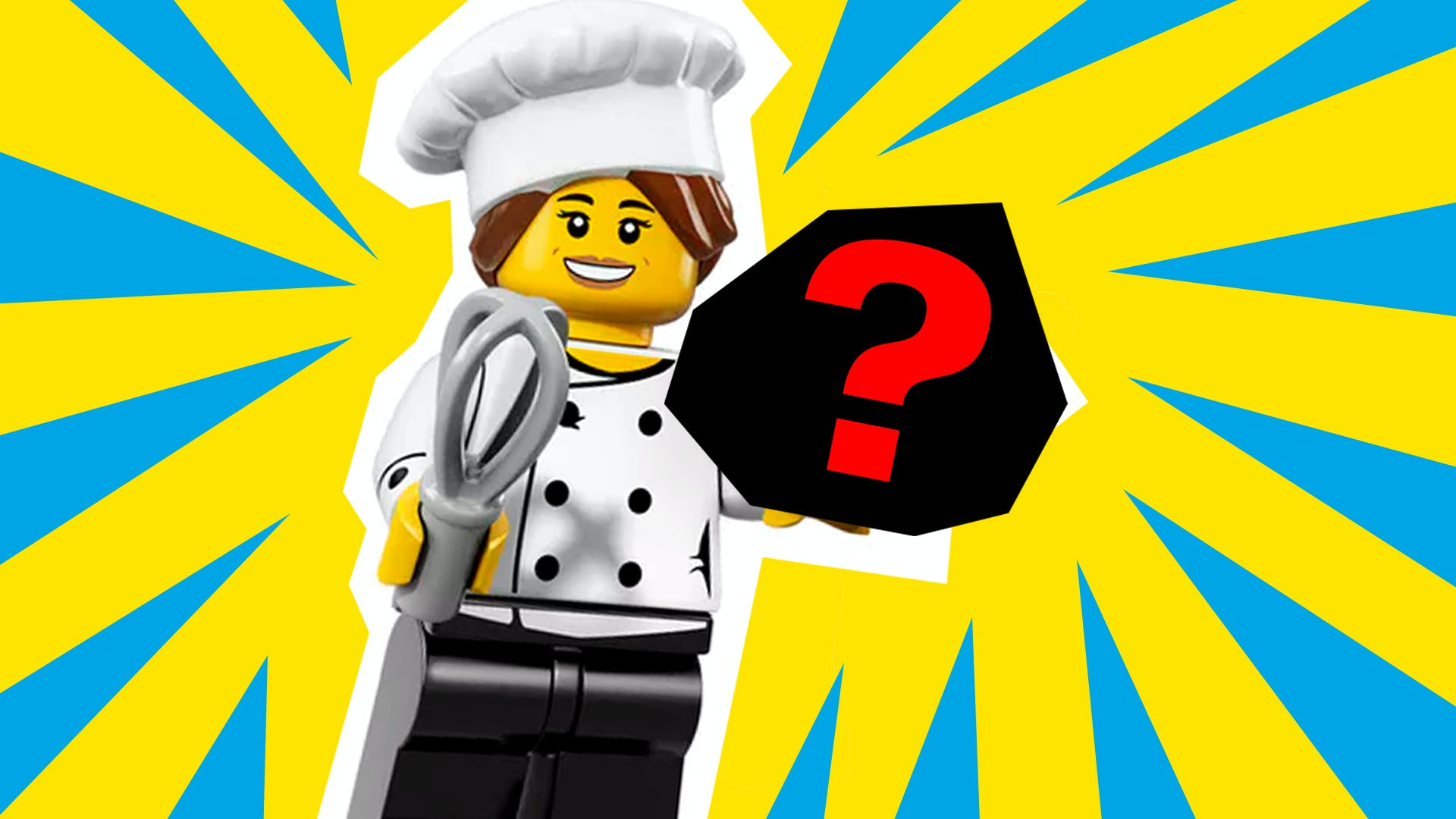 LEGO chef minifig holding a mystery