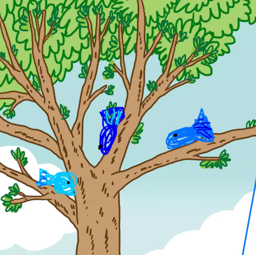 Three fish in a tree