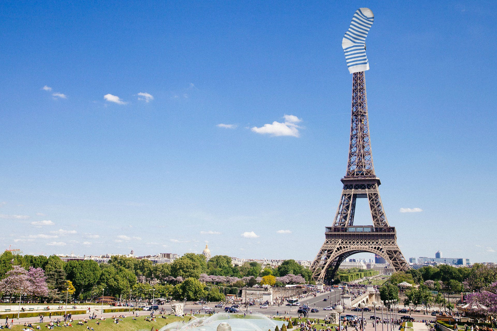 This sock is on top of the Eiffel Tower