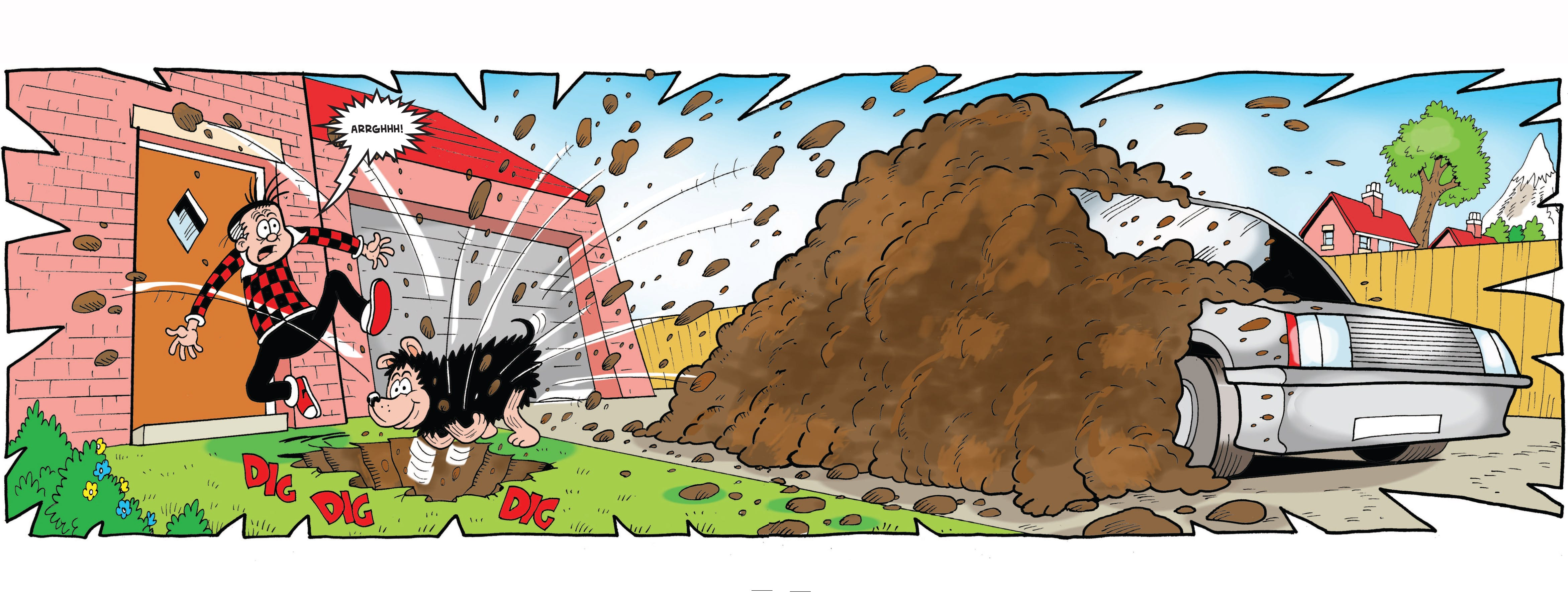 Gnasher buries the car