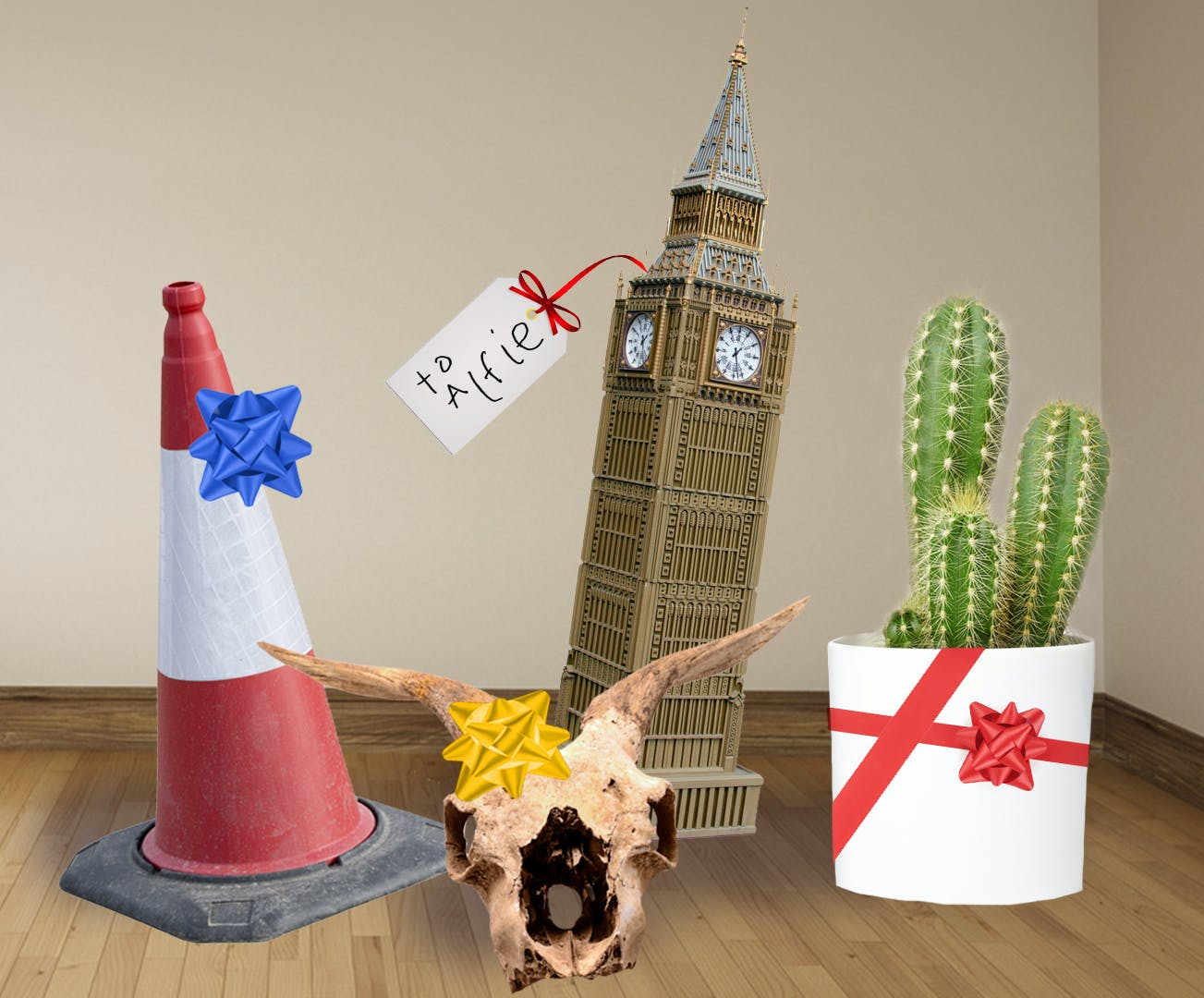 A traffic cone, cactus, big ben and a horned skull - hope Alfie likes them!